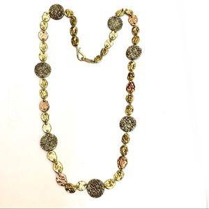 ANNE DICK Tri Tone Textured Brutalist Necklace